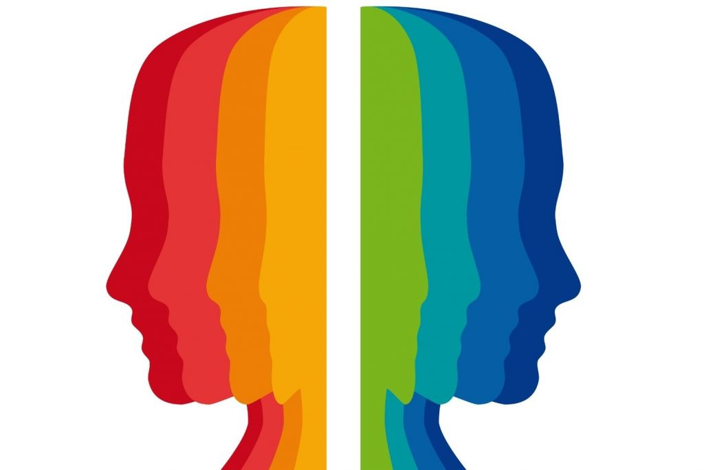 faces in all colors of the rainbow symbolizing color psychology in interior design
