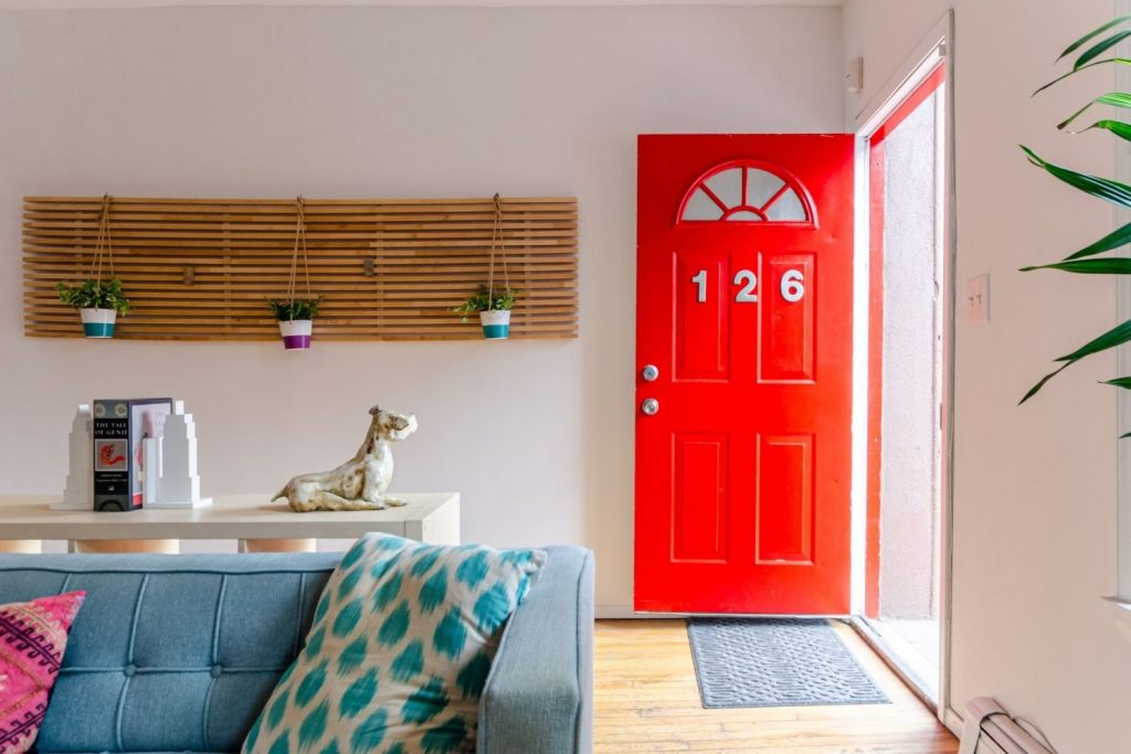 home with a red front door