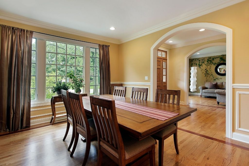 dining room with yellow painted walls