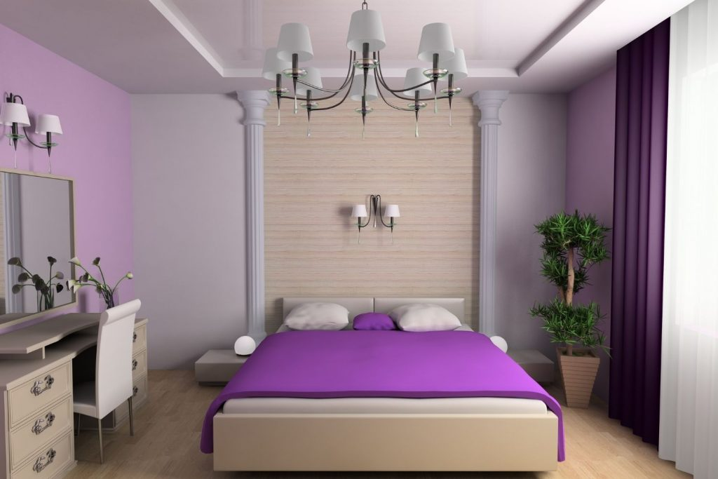 bedroom decorated in a purple scheme