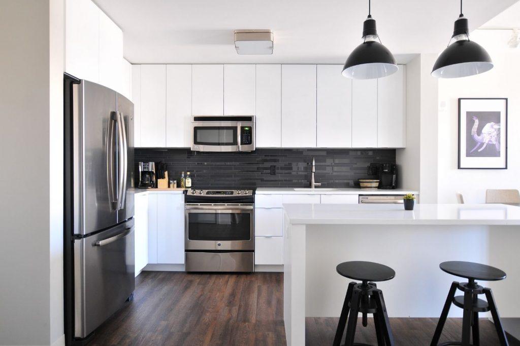 white kitchen accented in black