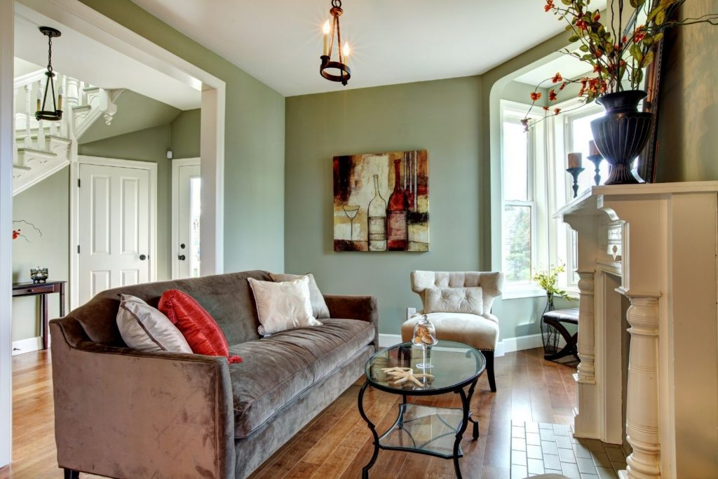 living room with a complementary color scheme
