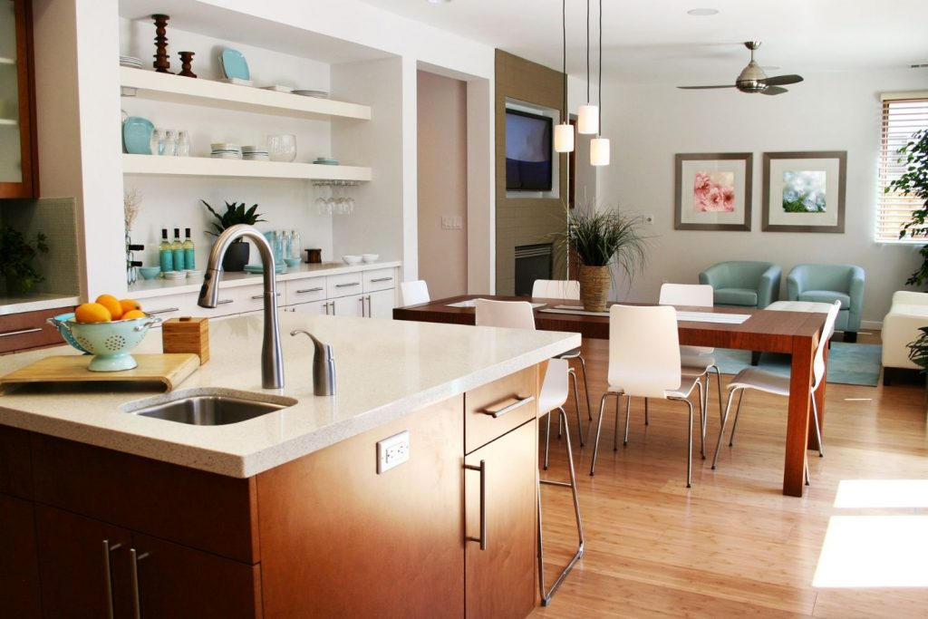 home interior with a split-complementary color palette
