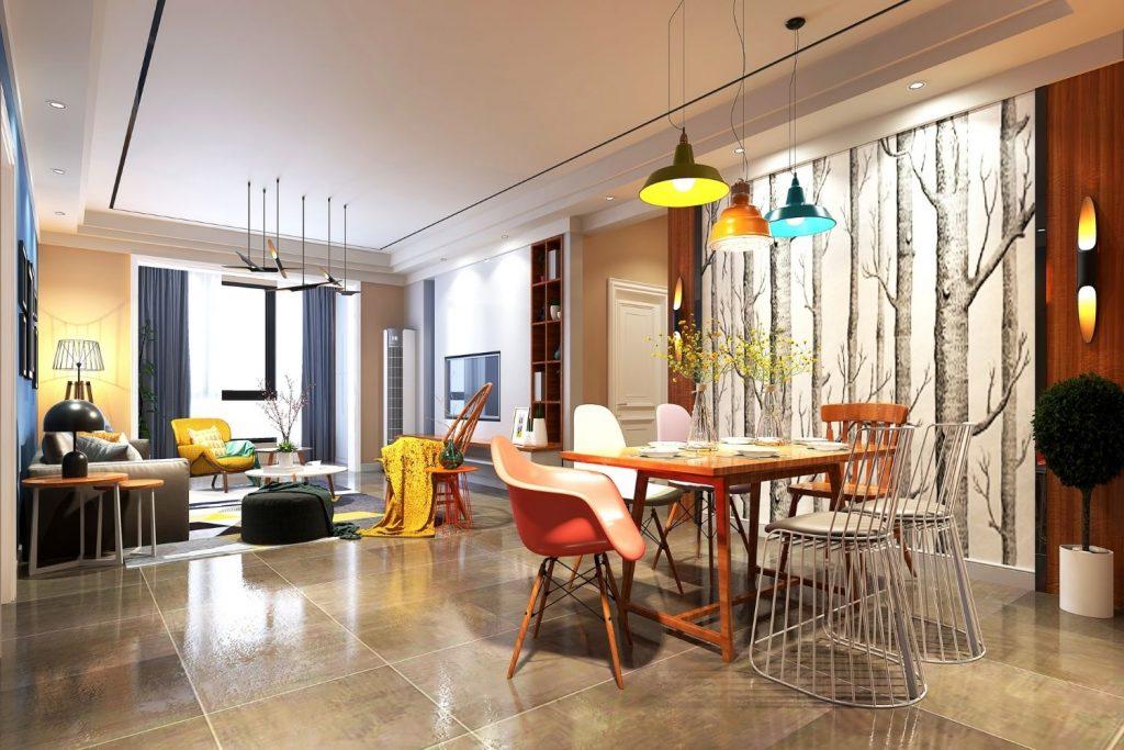 interior design with a tetradic color scheme