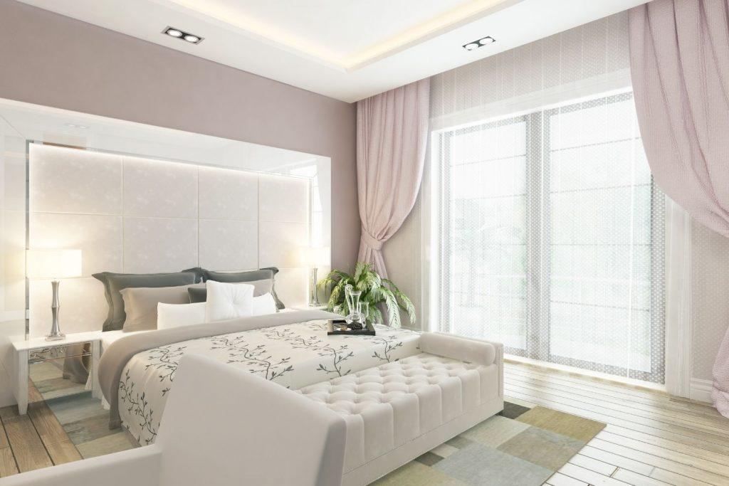 feminine colors in a bedroom