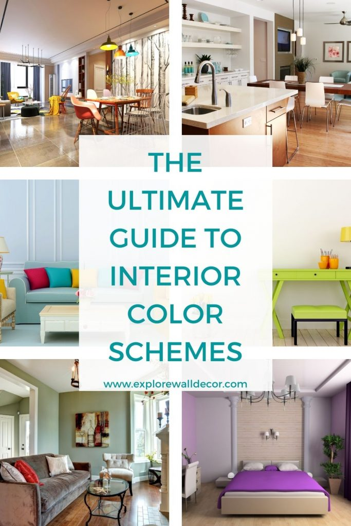 pinterest image for the article on interior color schemes for houses