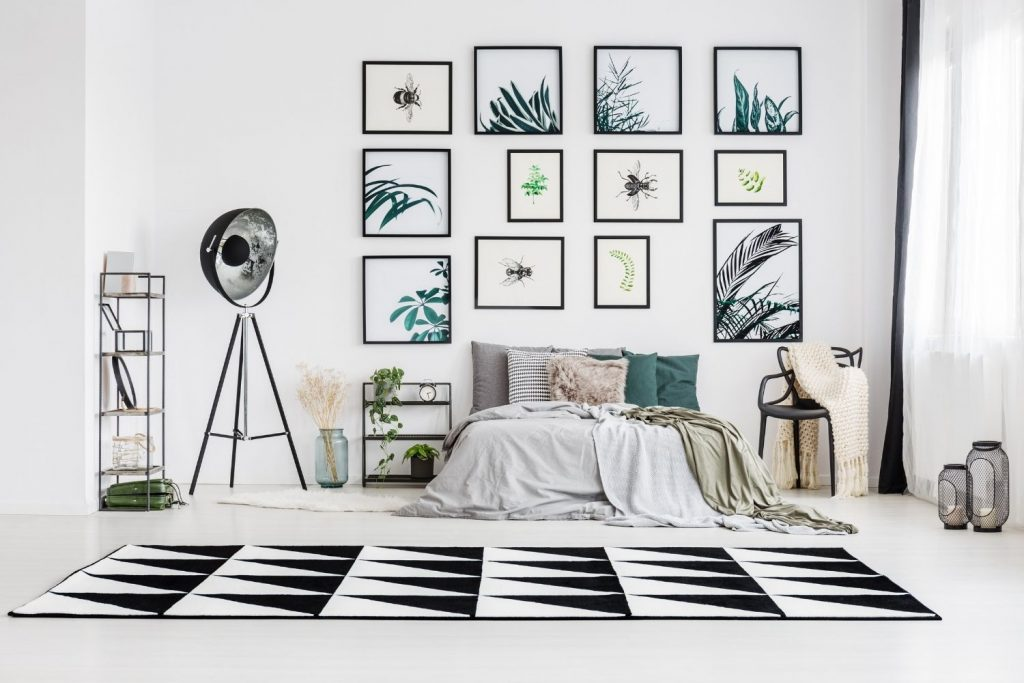 gallery display above a bed
