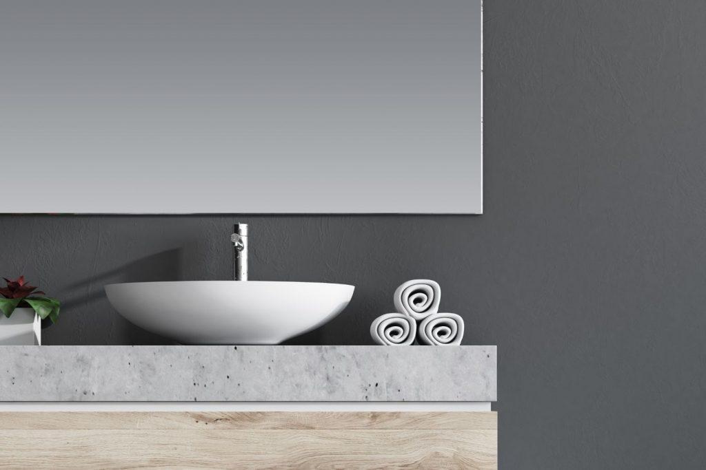 blue-gray bathroom walls