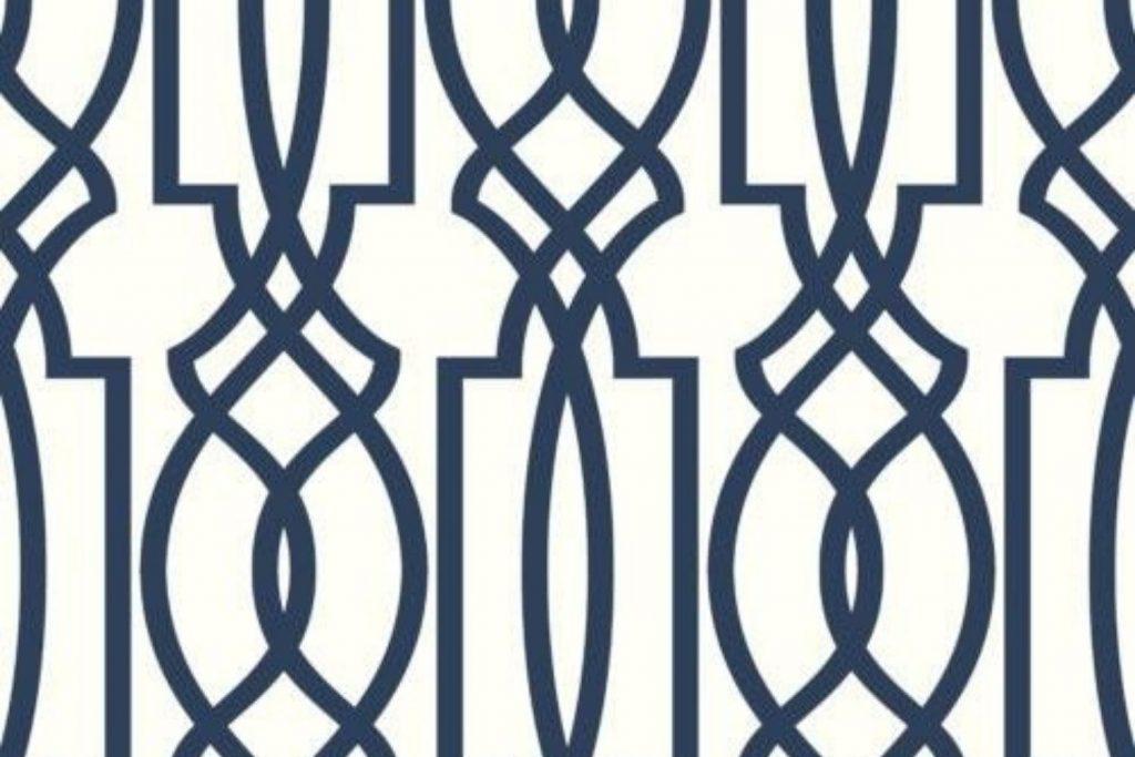 navy deco lattice wallpaper