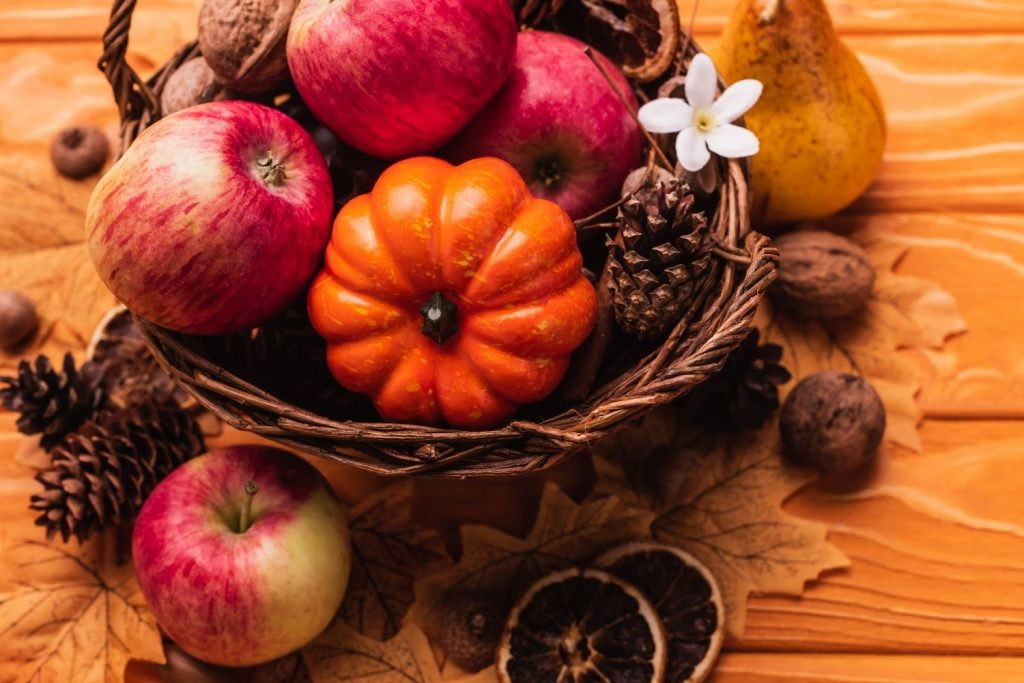 bowl with apples and pumpkins