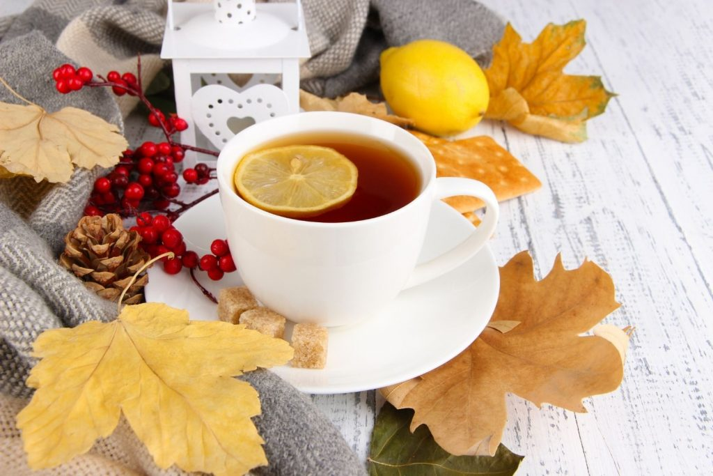 cup of tea with lemon surrounded by leaves and berries - featured image for article on autumn decor for the home