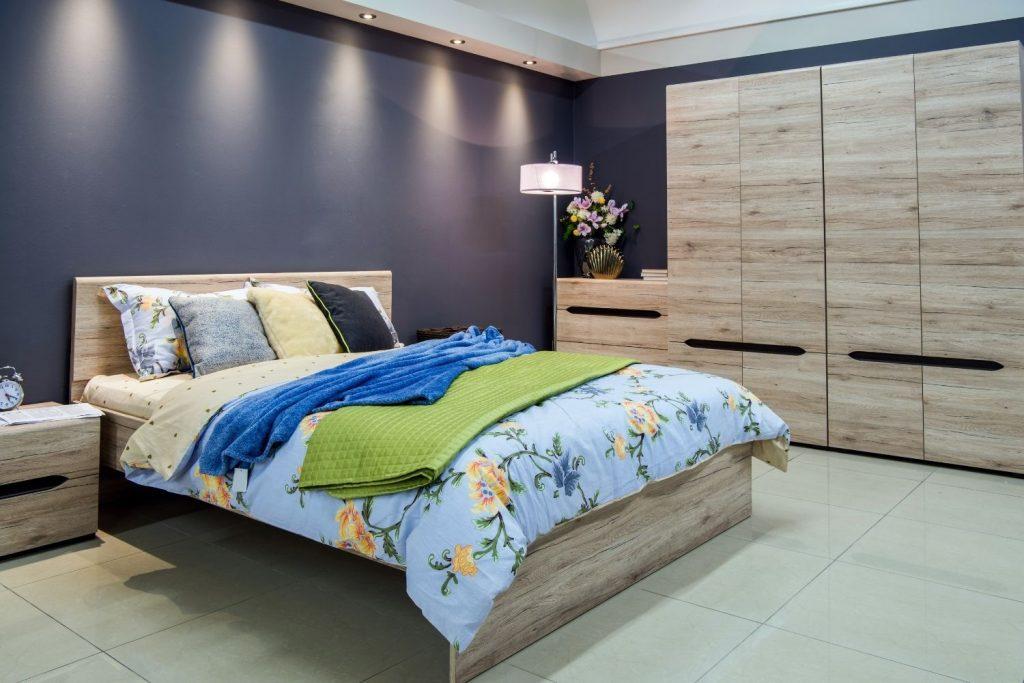 bedroom with dusty purple walls