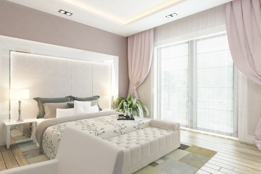bedroom with taupe walls